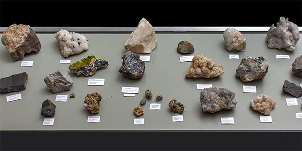A selection of minerals from the library display